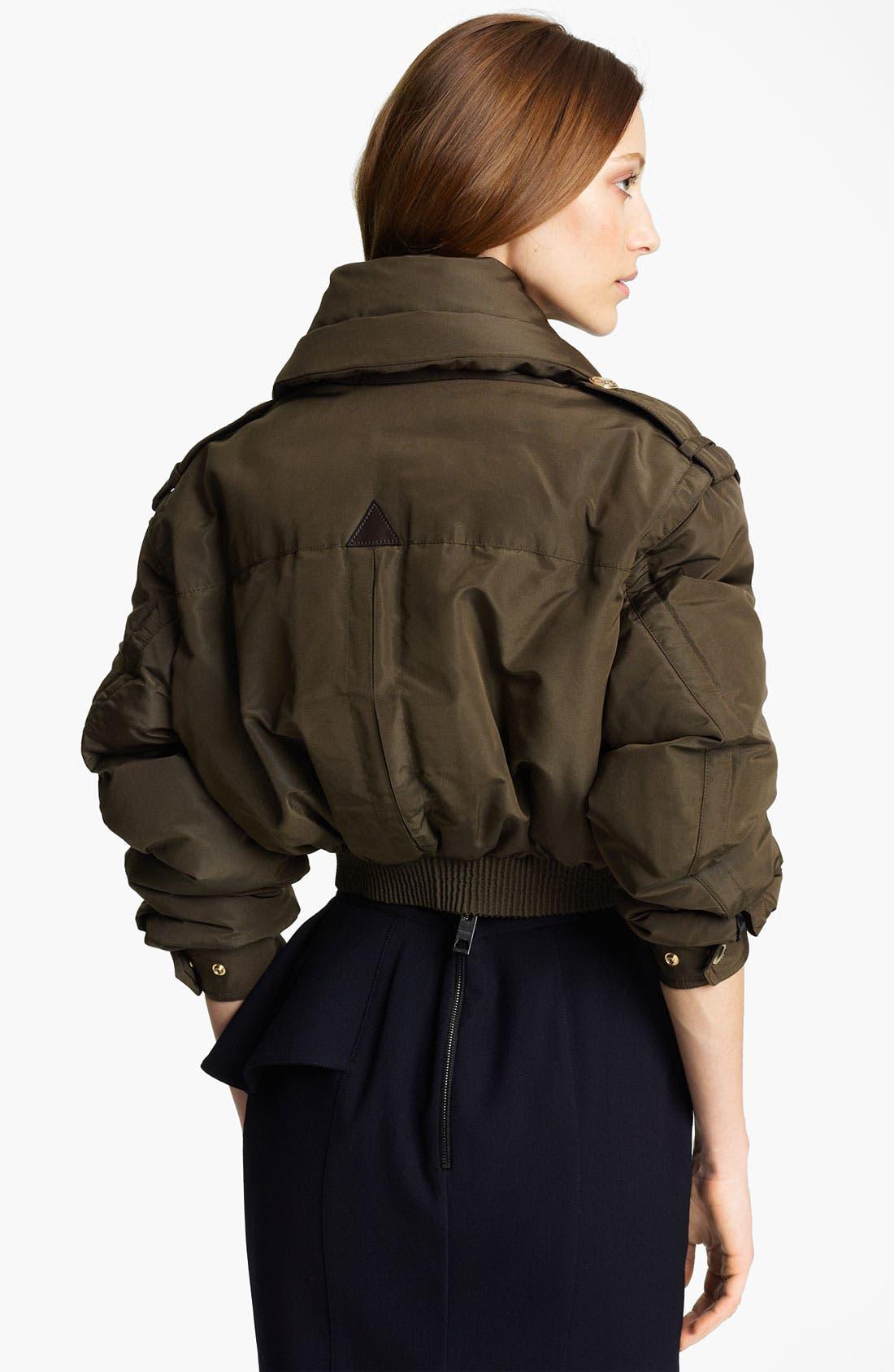 Alternate Image 2  - Burberry Prorsum Mulberry Silk Crop Puffer Jacket