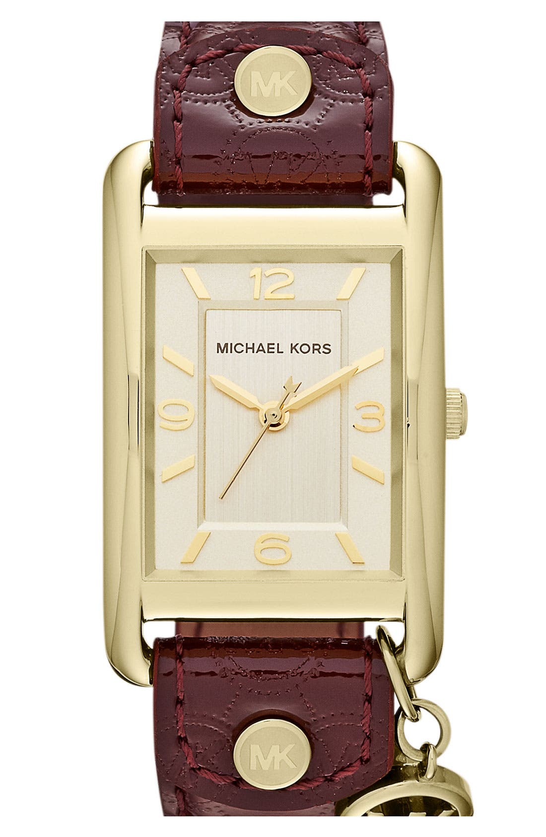 Main Image - Michael Kors 'Taylor' Square Leather Strap Watch, 26mm x 32mm