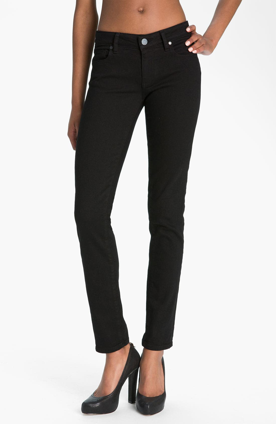 Alternate Image 1 Selected - Paige Denim 'Skyline' Skinny Stretch Jeans (Black Ink)