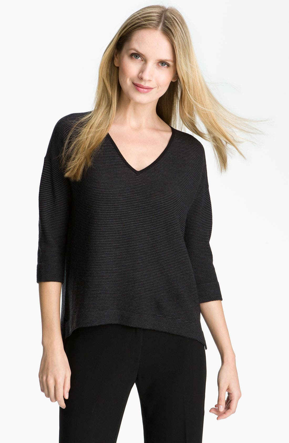 Alternate Image 1 Selected - Eileen Fisher Stripe Wool Crepe Top