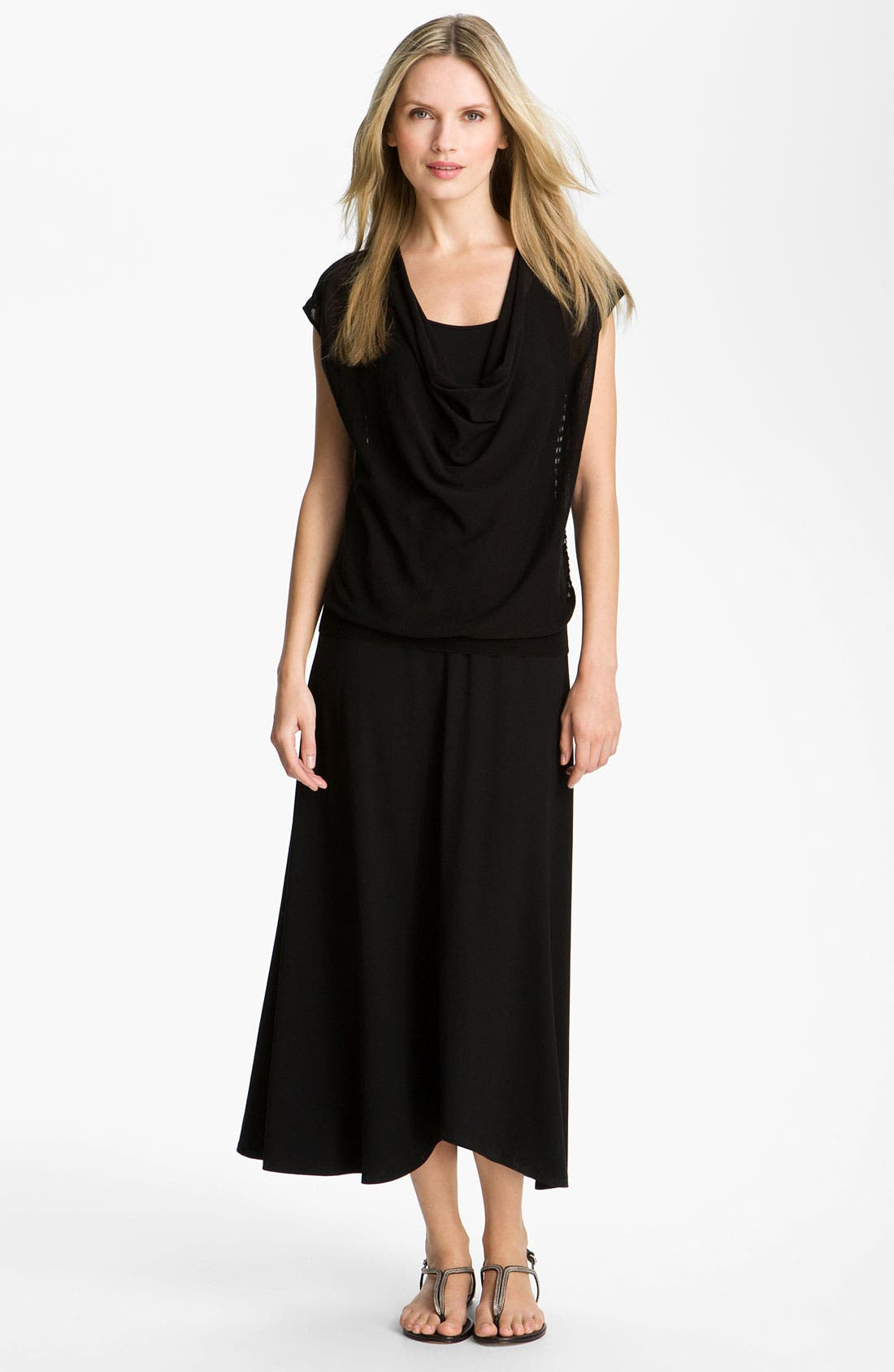 Alternate Image 4  - Eileen Fisher Drape Neck Mesh Back Top