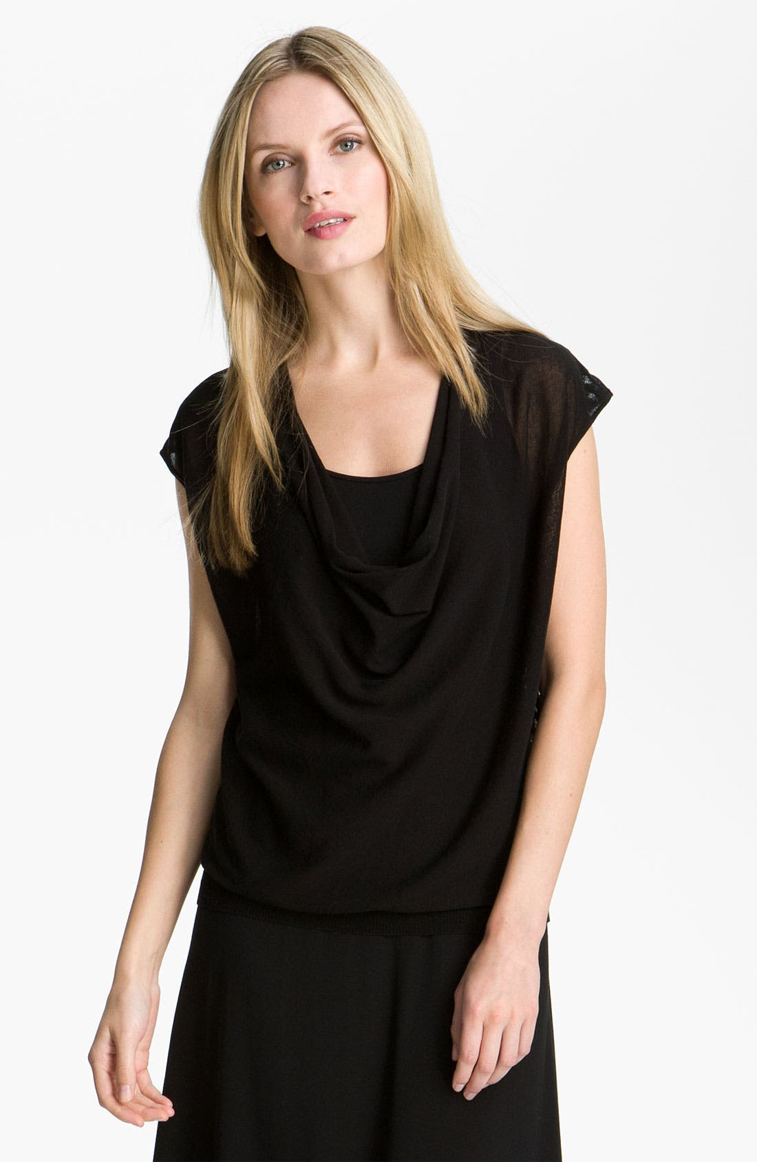 Main Image - Eileen Fisher Drape Neck Mesh Back Top