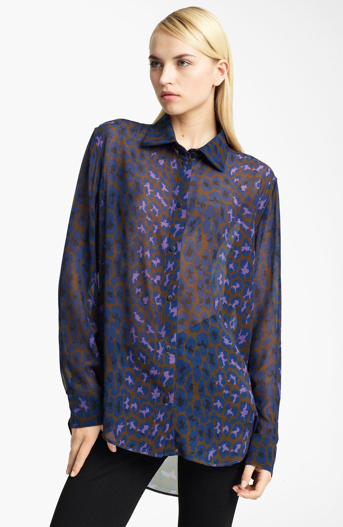 Main Image - Christopher Kane Leopard Print Silk Georgette Blouse