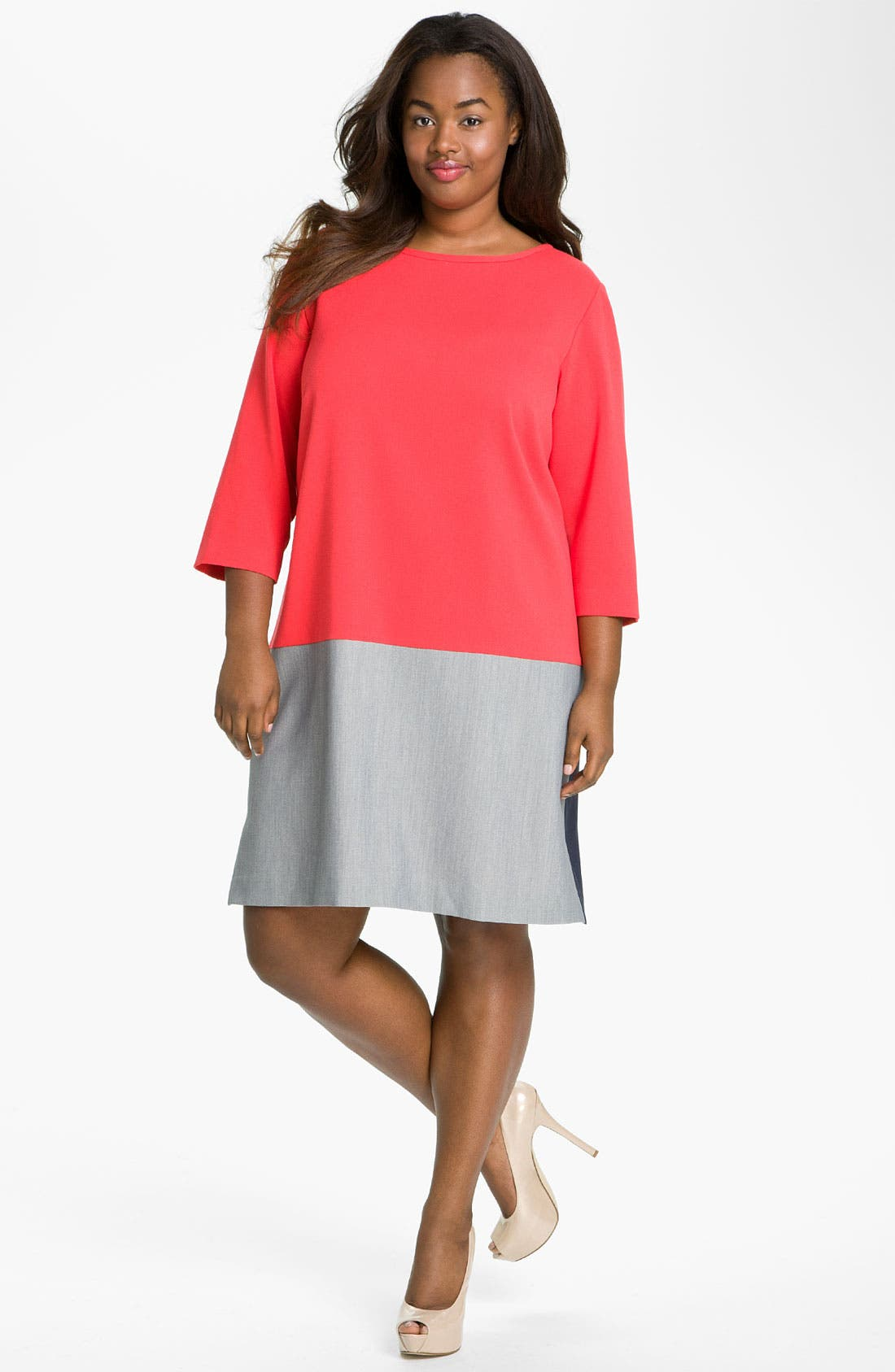Main Image - Eliza J Colorblock Shift Dress (Plus)