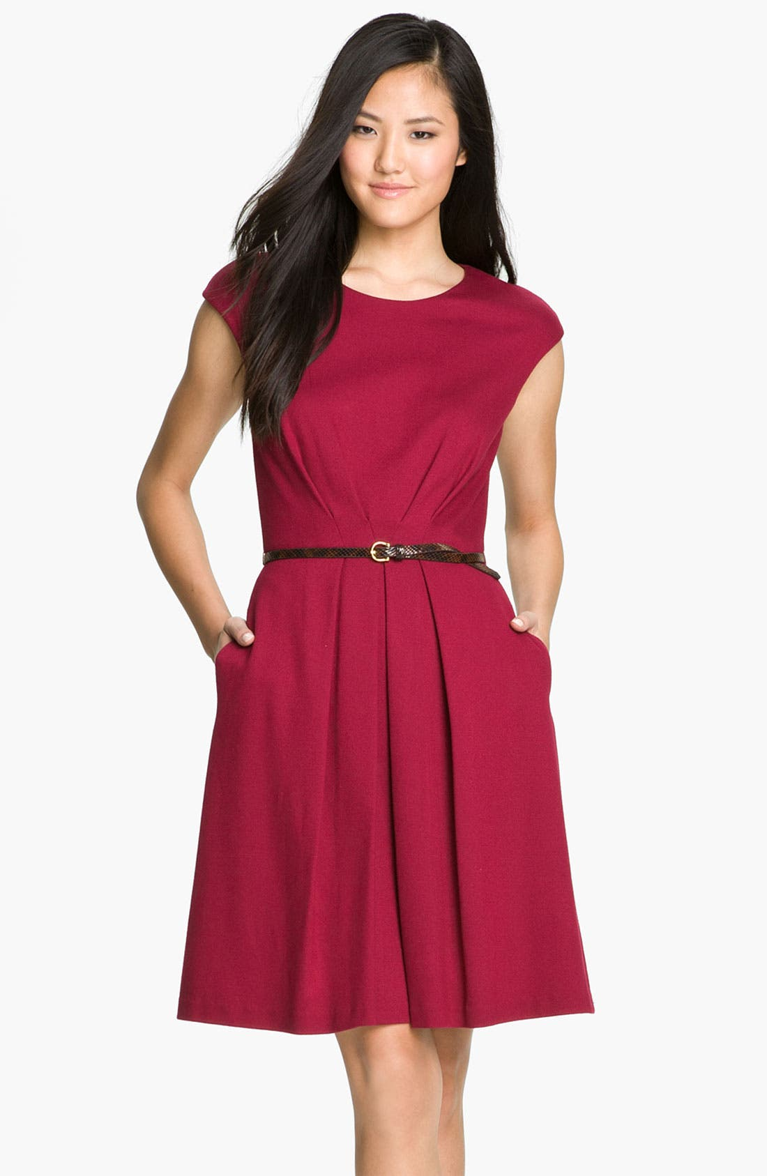 Alternate Image 1 Selected - Maggy London Belted Ponte Knit Fit & Flare Dress