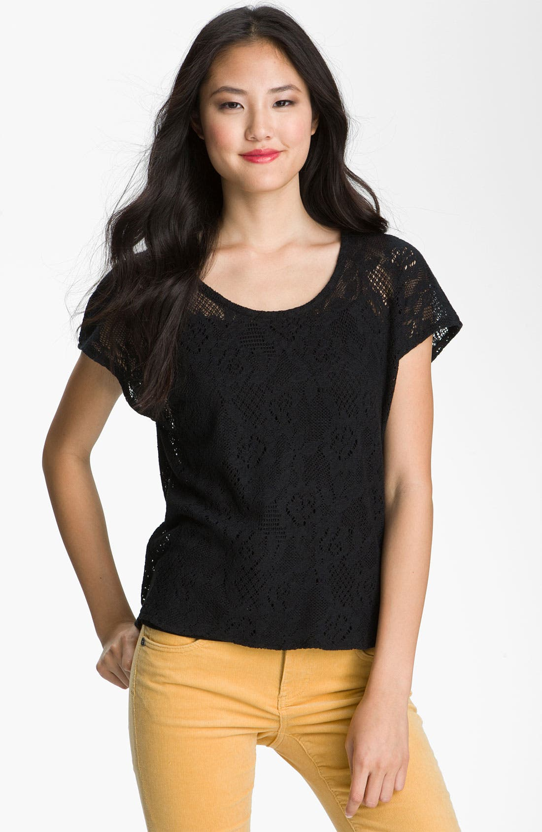 Alternate Image 1 Selected - Lucky Brand 'Ginger' Sheer Lace Top (Special Purchase)