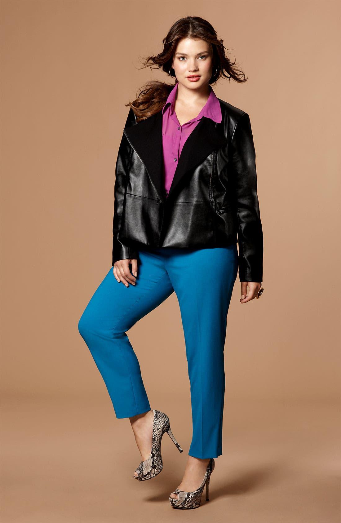 Alternate Image 4  - DKNYC Faux Leather Moto Jacket (Plus)