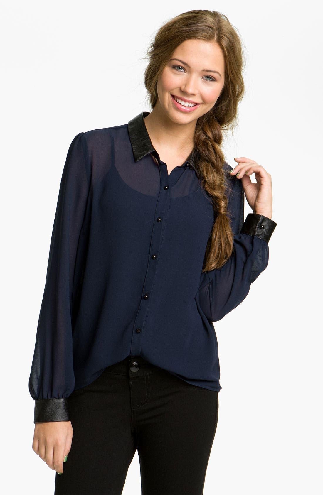 Alternate Image 1 Selected - Chloe K Faux Leather Trim Shirt (Juniors)