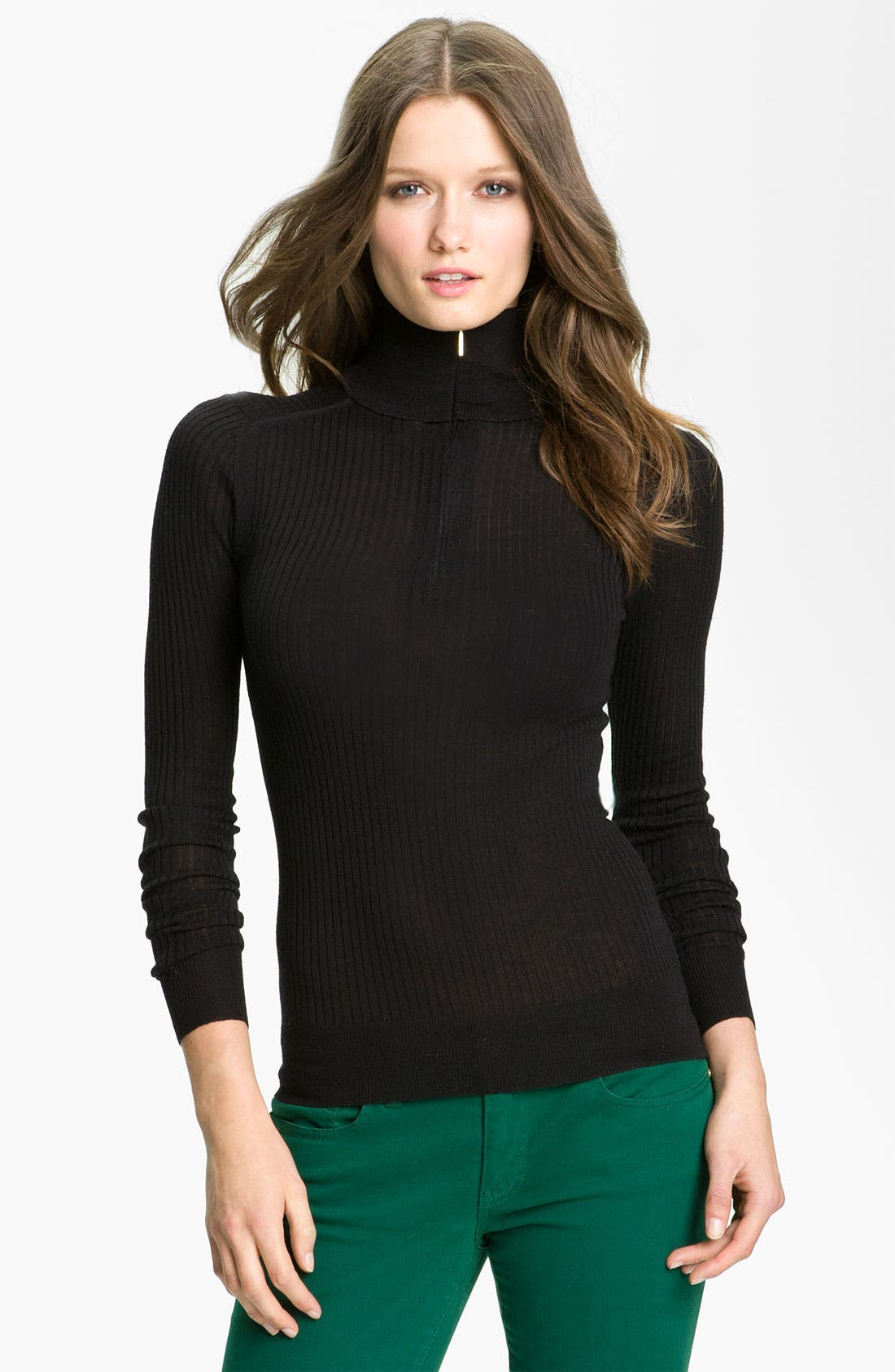 Main Image - Tory Burch 'Antonia' Zip Turtleneck