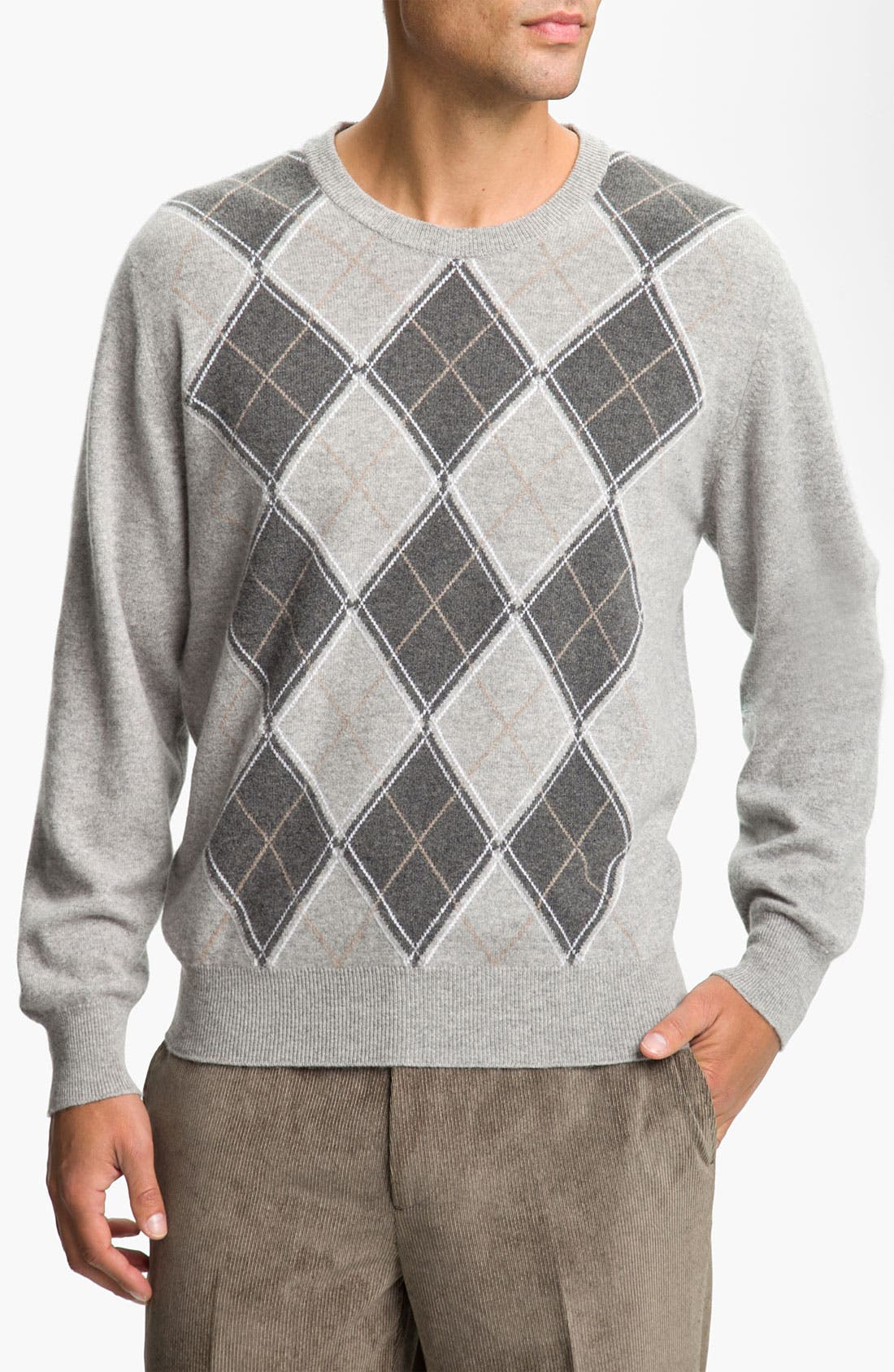 Alternate Image 1 Selected - MacAlan Diamond Front Cashmere Sweater