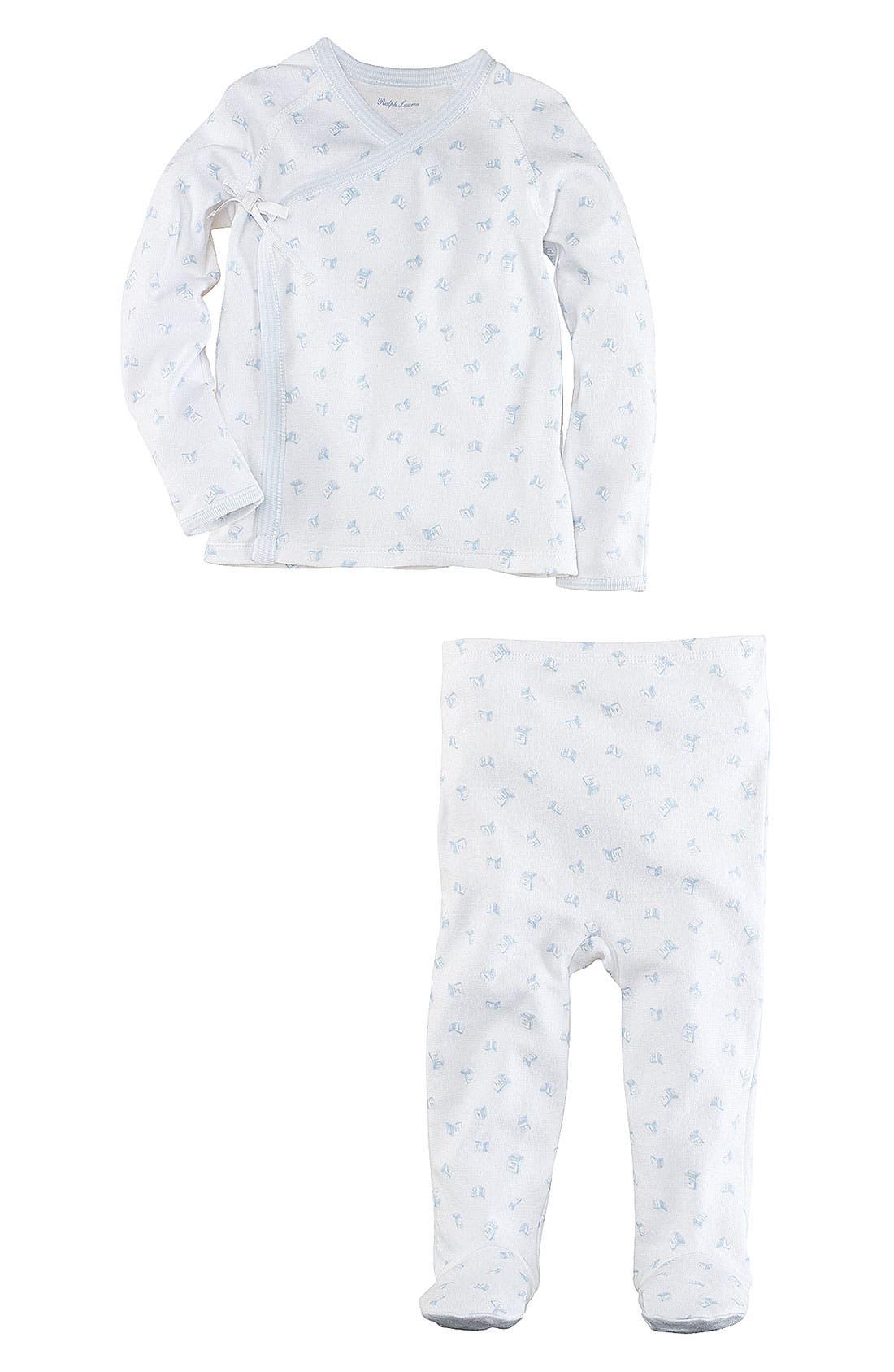 Alternate Image 2  - Ralph Lauren Top & Footed Leggings (Infant)