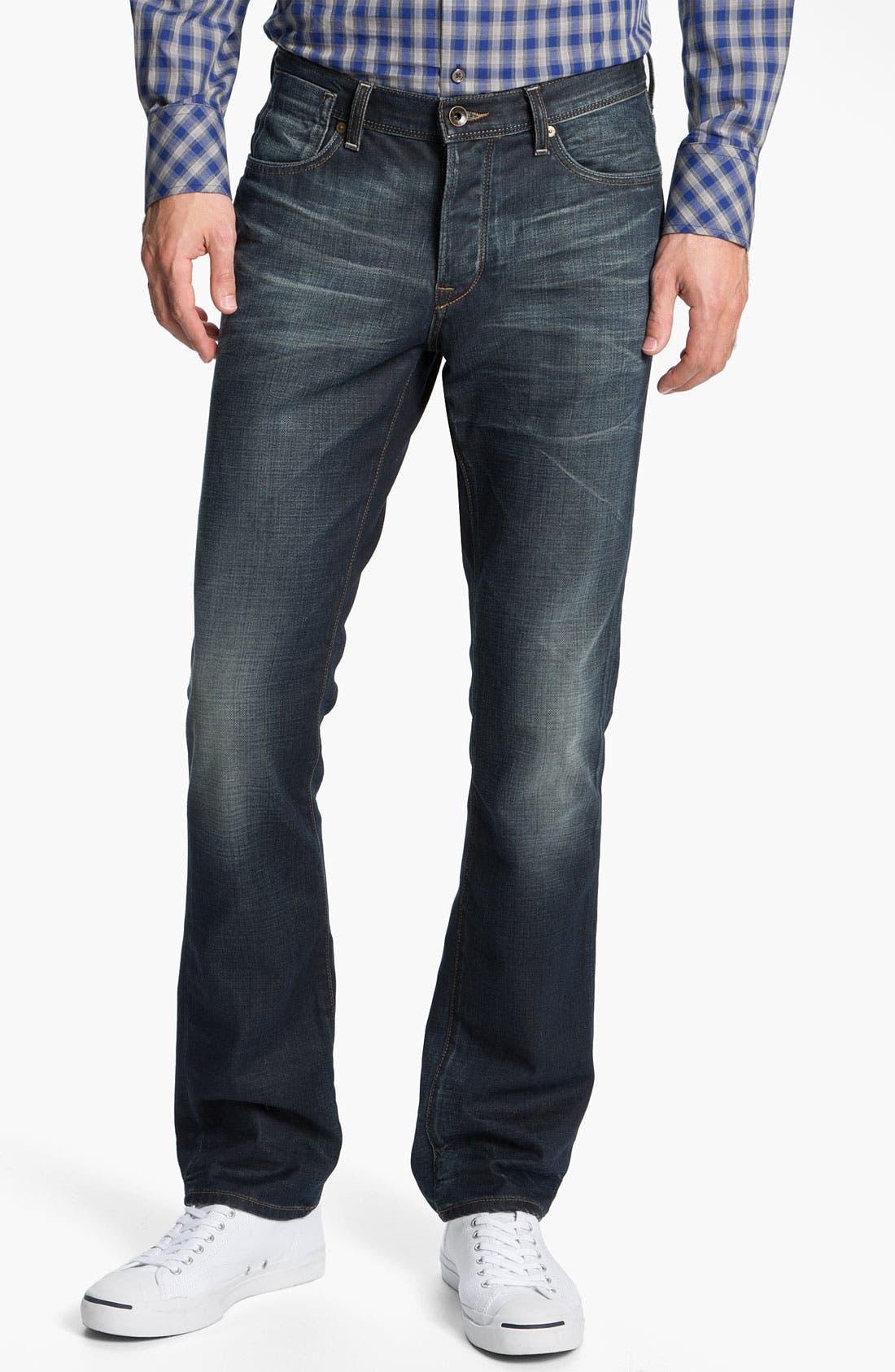 Alternate Image 1 Selected - John Varvatos 'Bowery' Slim Straight Leg Jeans (Dark Indigo)