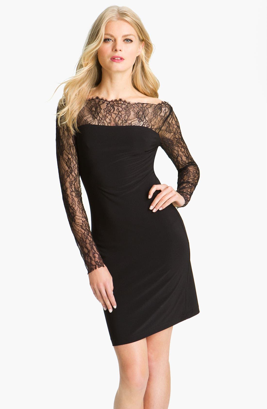 Main Image - ABS by Allen Schwartz Lace Sleeve Jersey Sheath Dress