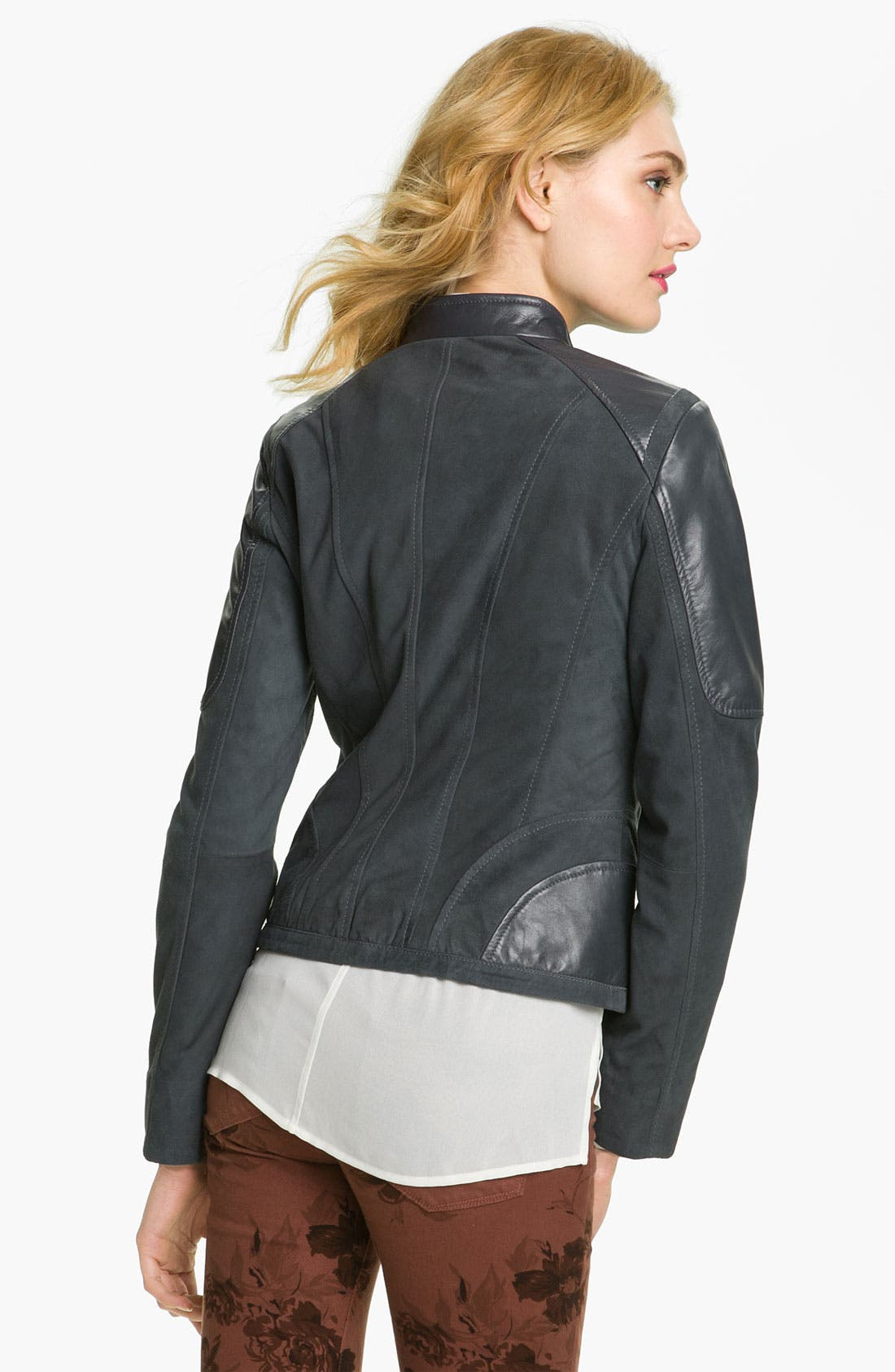 Alternate Image 2  - Bernardo Suede Marble Leather Jacket