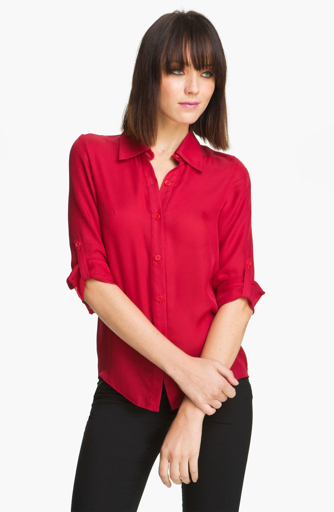 Main Image - Alice + Olivia 'Thea' Stretch Silk Shirt