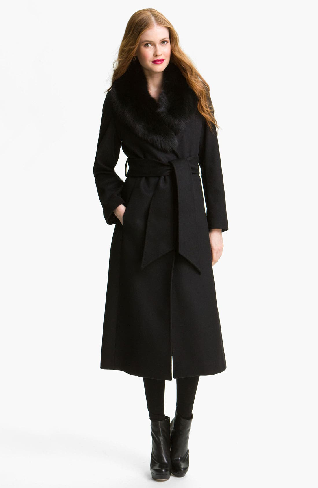 Alternate Image 1 Selected - George Simonton Couture Genuine Fox Fur Trim Wrap Coat