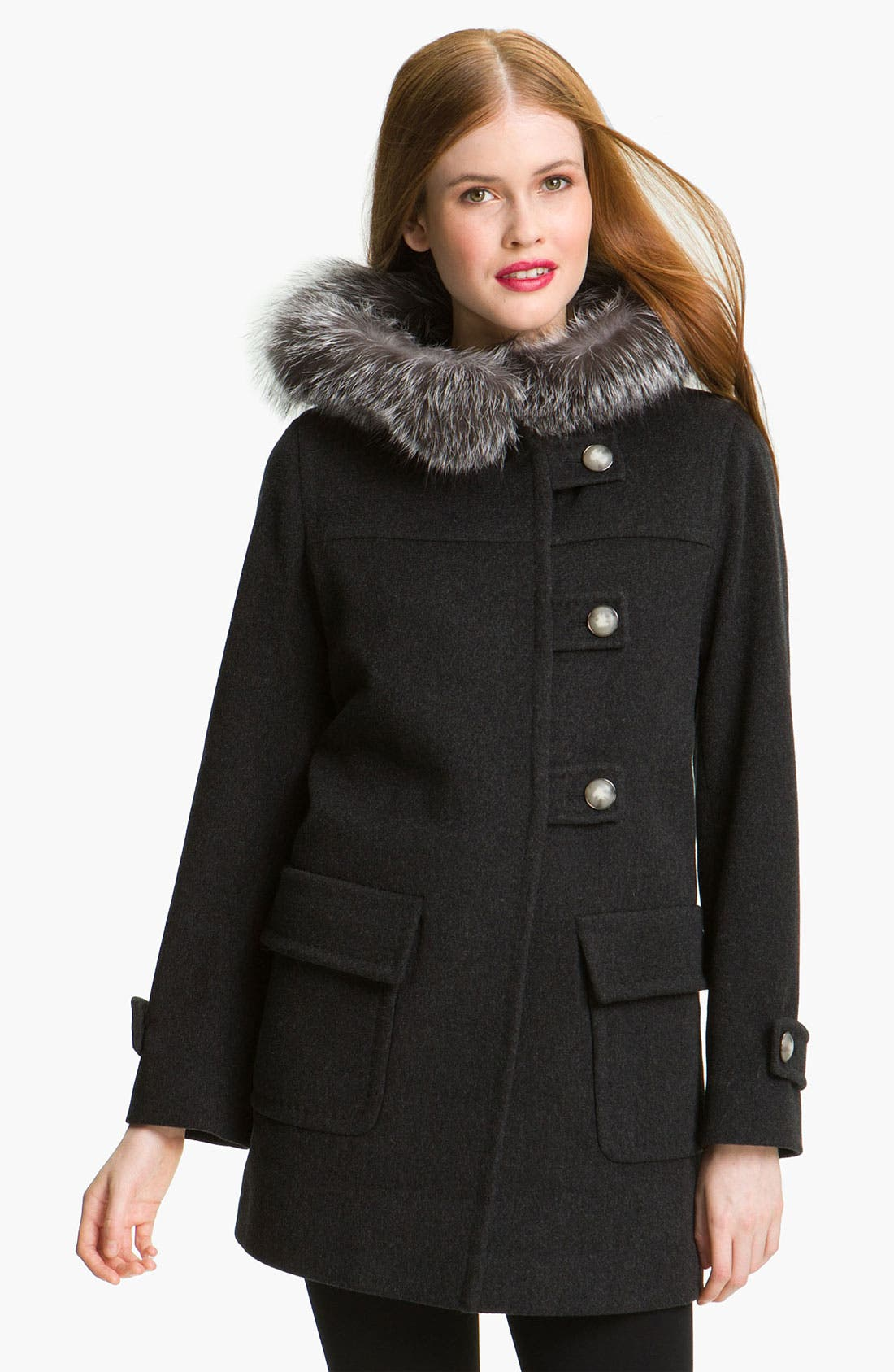 Main Image - Fleurette Duffle Coat with Genuine Fox Fur Collar