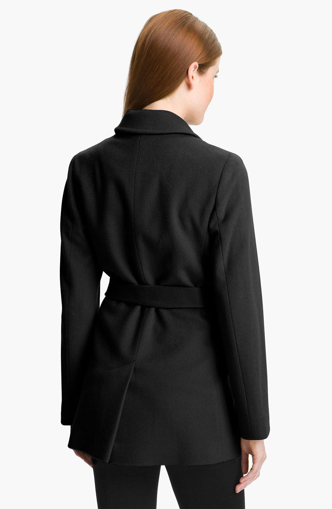 Alternate Image 2  - Fleurette Short Loro Piana Wool Wrap Coat (Online Exclusive)