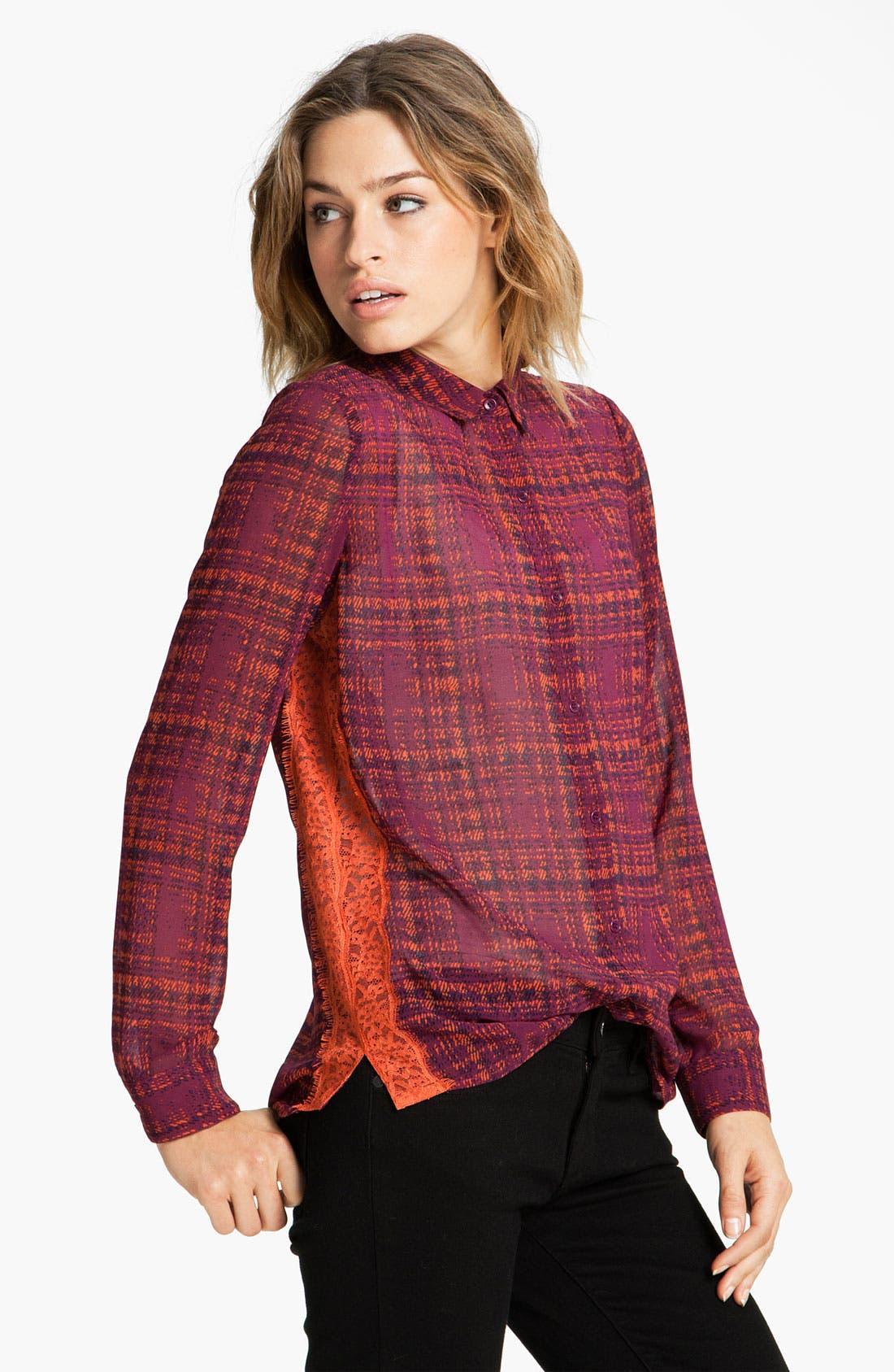 Main Image - Hinge® Print Lace Panel  Shirt