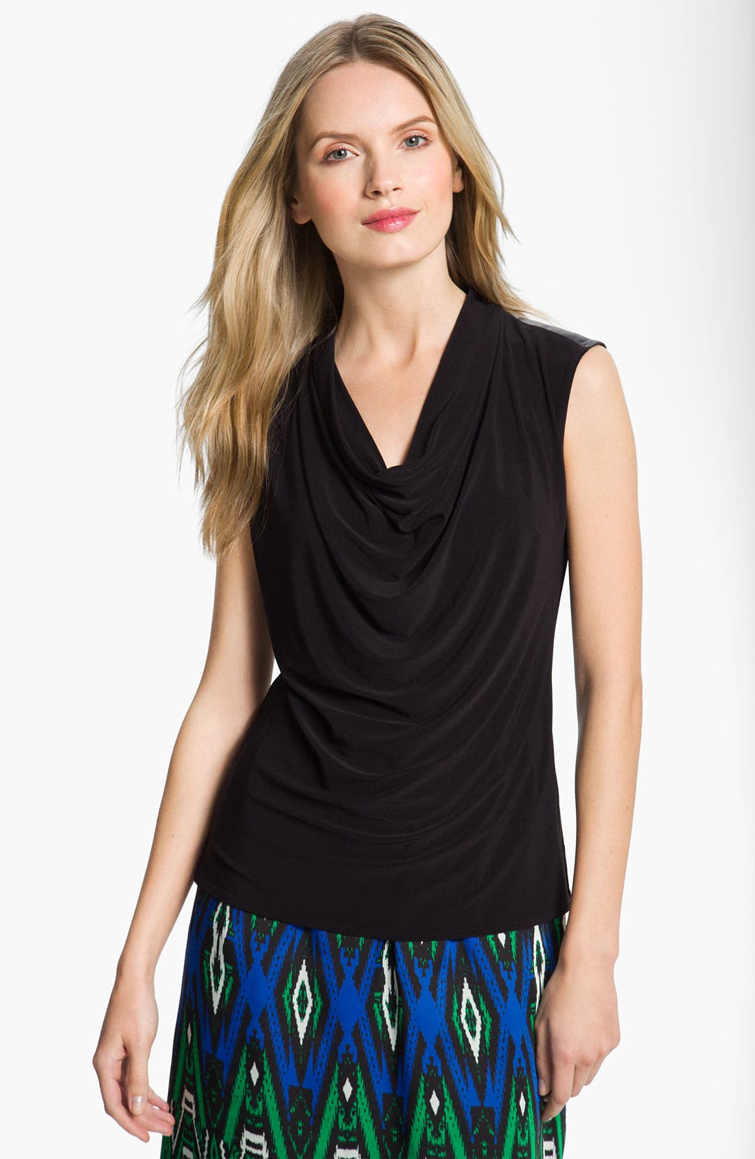 Alternate Image 1 Selected - Chaus Faux Leather Trim Top