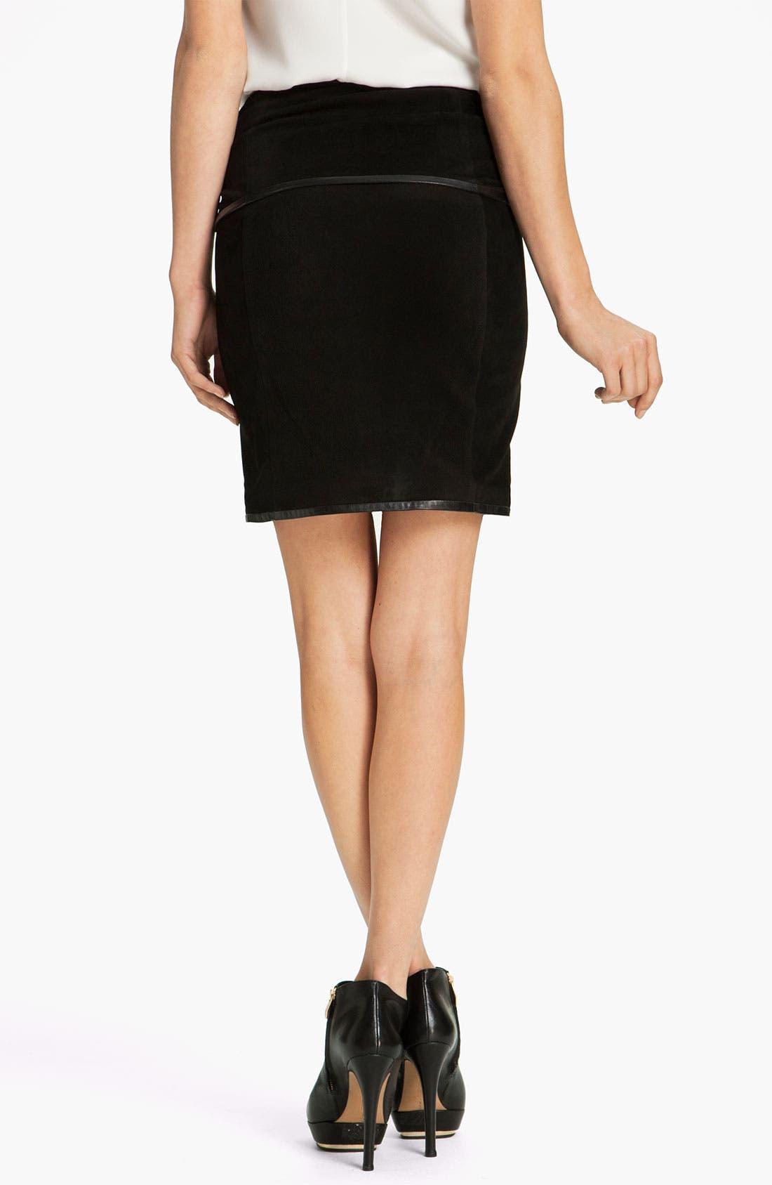 Alternate Image 2  - Robert Rodriguez Leather Framed Suede Skirt
