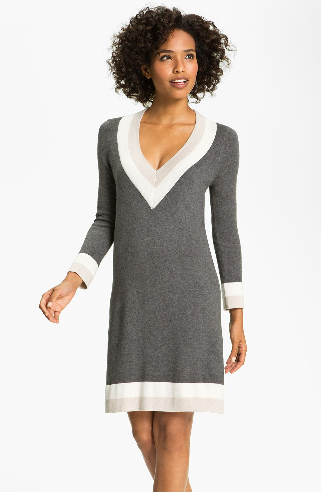 Main Image - Felicity & Coco Colorblock V-Neck Sweater Dress (Regular & Petite) (Nordstrom Exclusive)