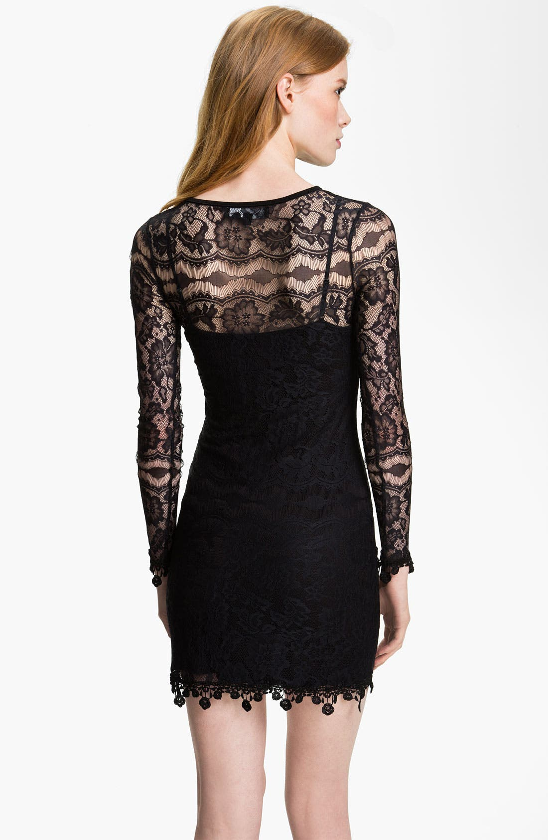 Lace Dress,                             Alternate thumbnail 2, color,                             Black