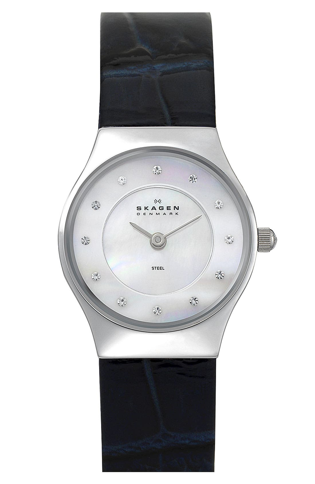 Alternate Image 1 Selected - Skagen Round Leather Strap Watch, 28mm