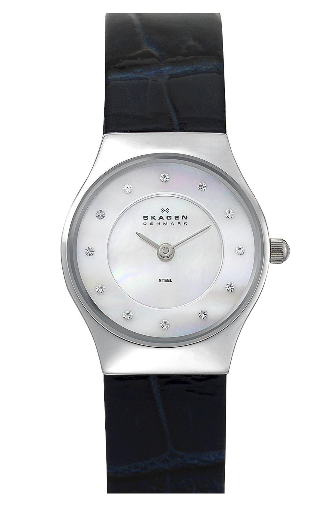 Main Image - Skagen Round Leather Strap Watch, 28mm