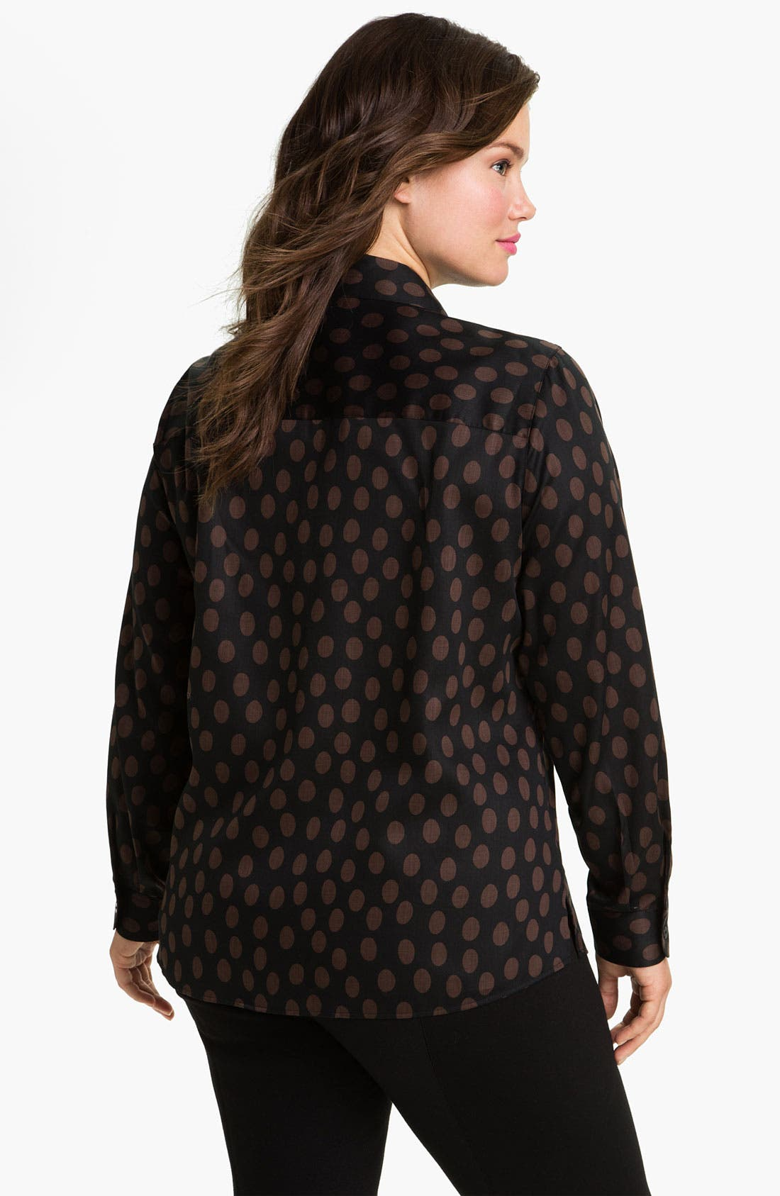 Alternate Image 2  - Foxcroft Dotted Long Sleeve Wrinkle Free Shaped Shirt (Plus)
