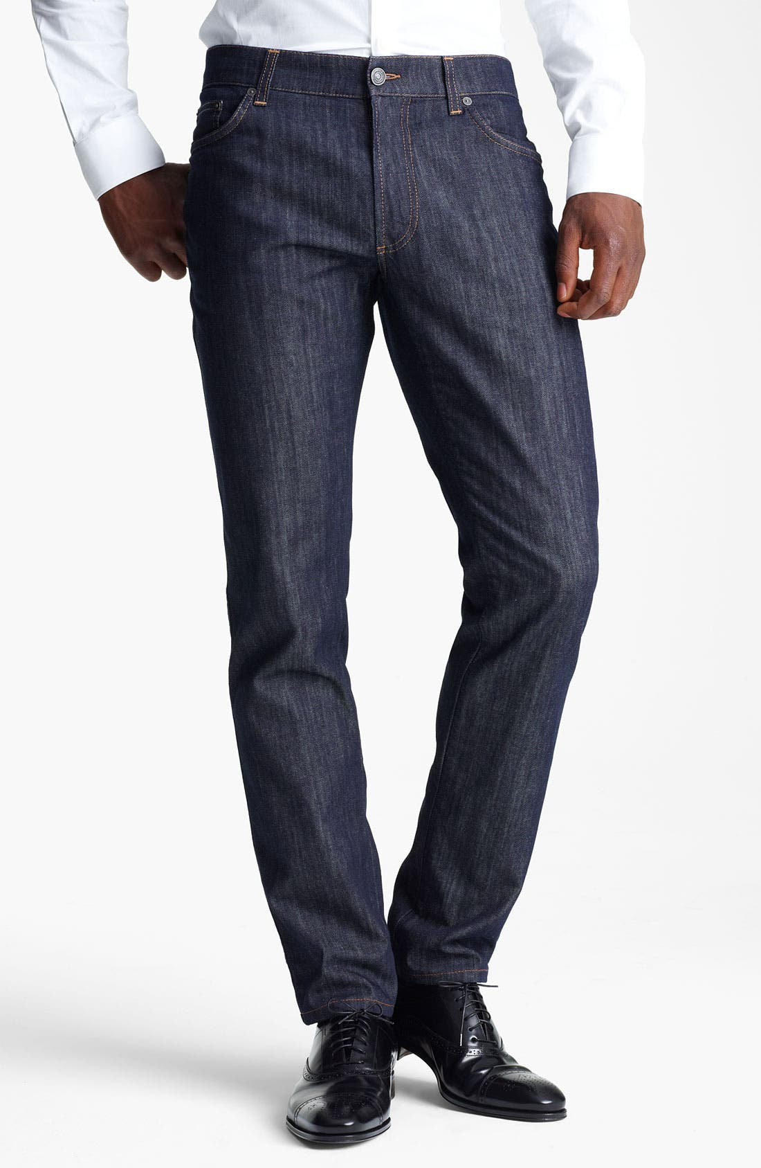 Main Image - Salvatore Ferragamo 'Typology' Straight Leg Jeans (Navy)