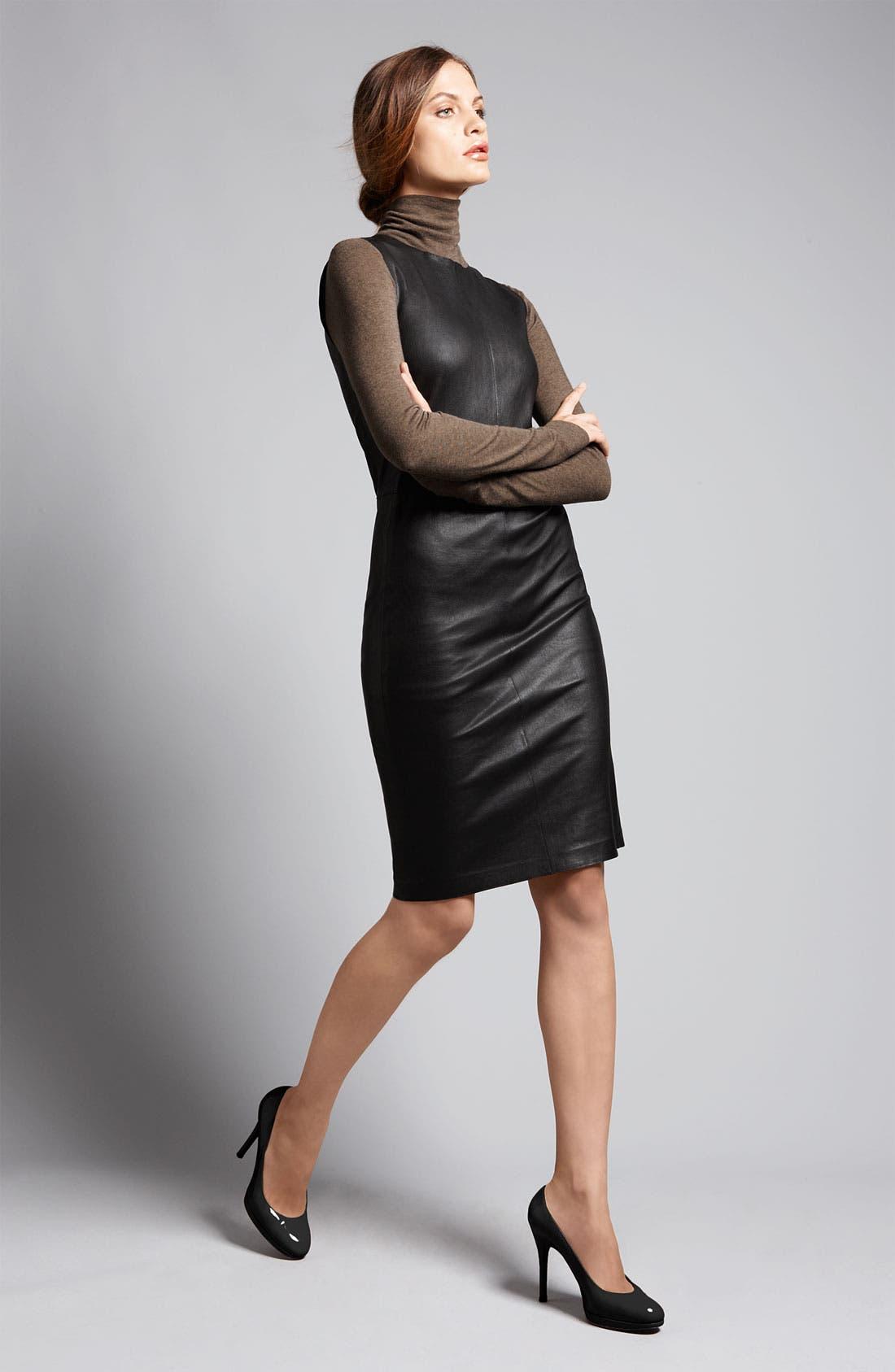 Alternate Image 4  - Vince Stretch Leather Sheath Dress