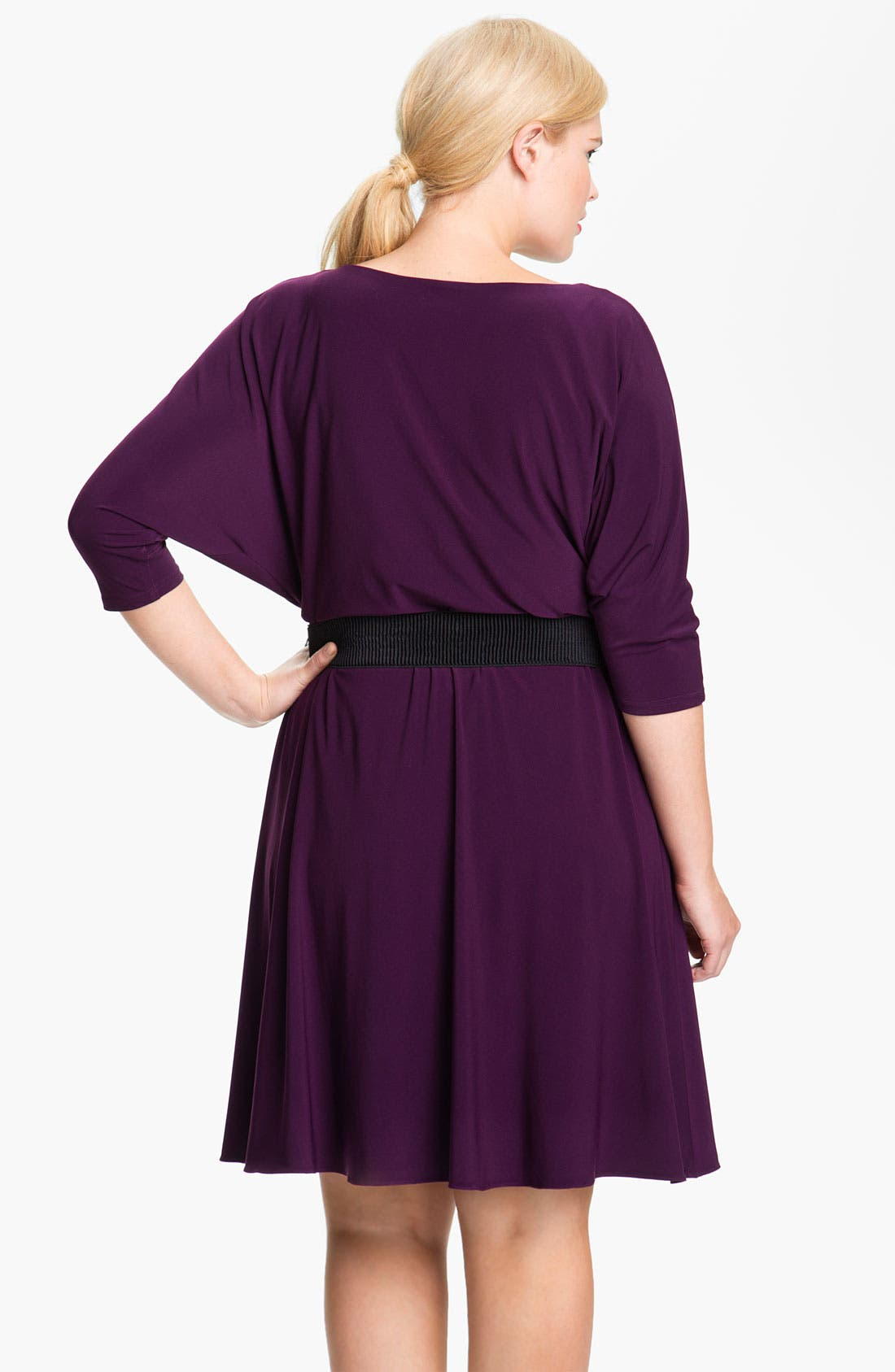 Alternate Image 2  - Adrianna Papell Dolman Sleeve Flare Dress (Plus)