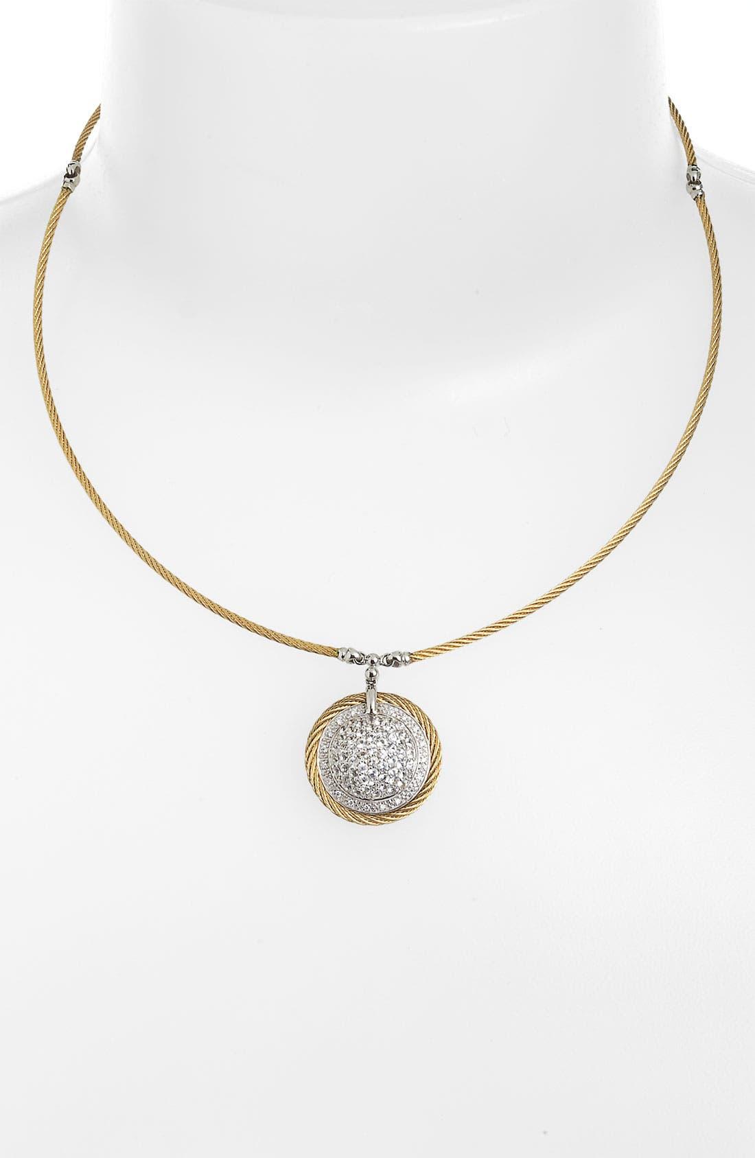 Alternate Image 1 Selected - ALOR® Dome Sapphire & Diamond Pendant Necklace