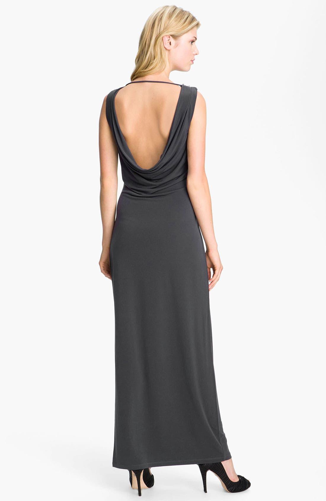 Alternate Image 2  - Calvin Klein Draped Open Back Jersey Gown