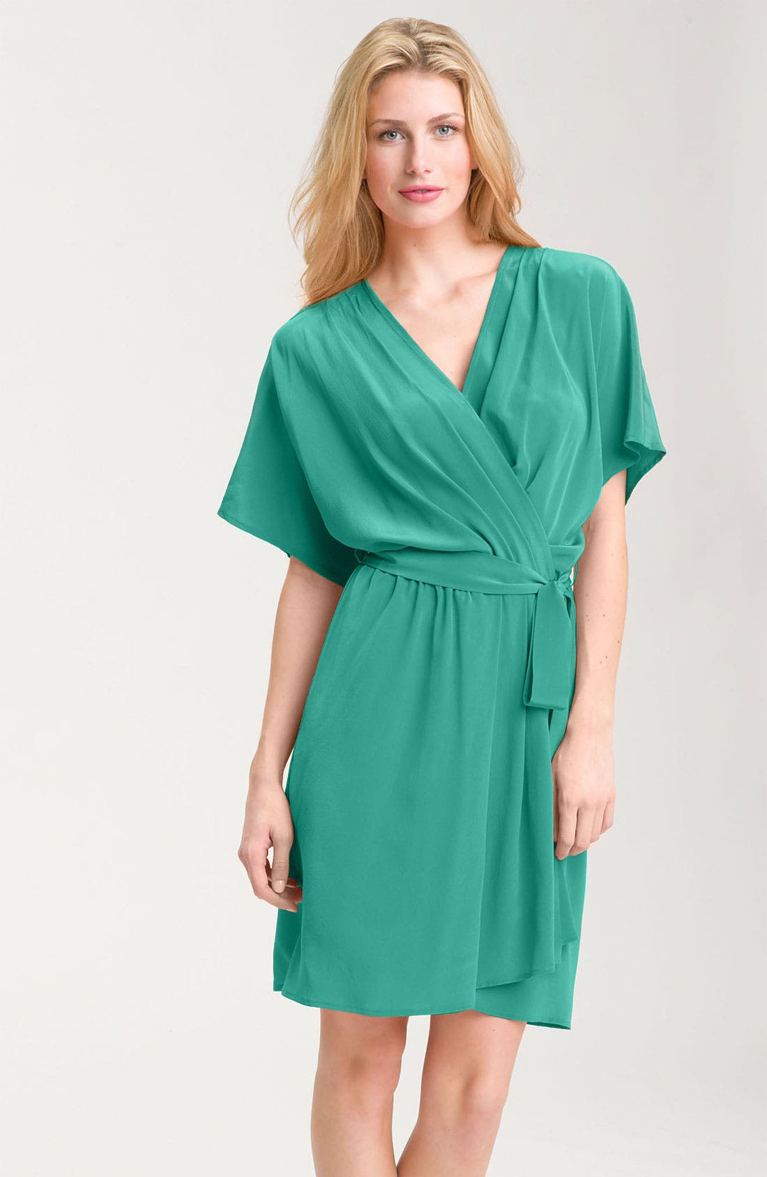 Alternate Image 1 Selected - Donna Morgan Faux Wrap Crêpe de Chine Dress (Petite)