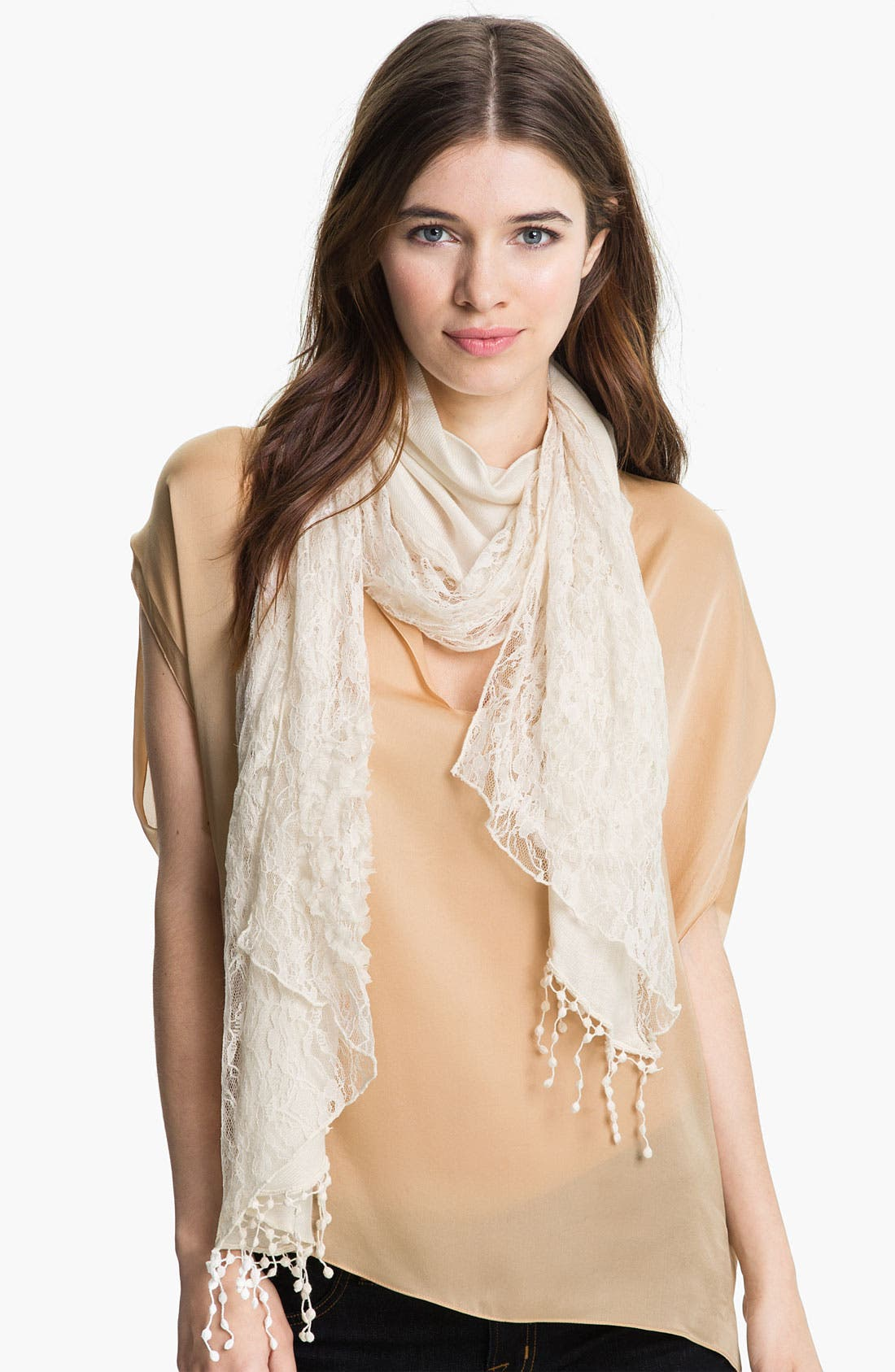 Alternate Image 1 Selected - Betsey Johnson Lace & Twill Scarf