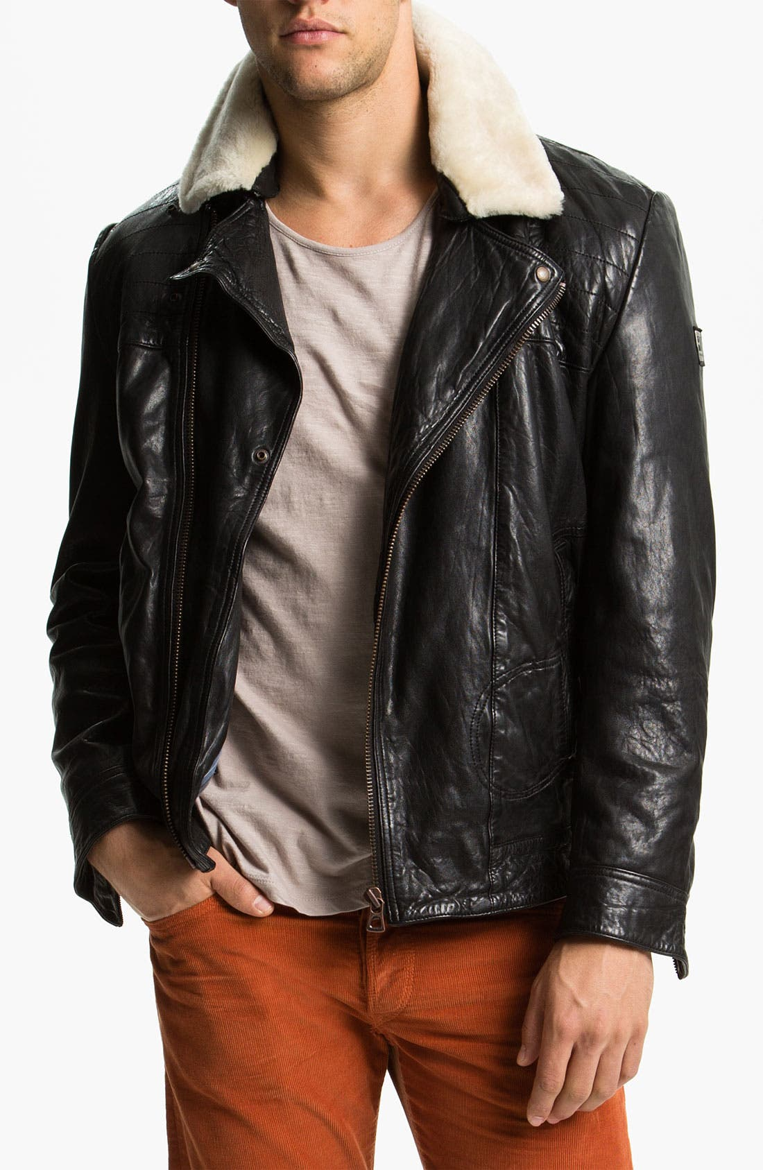 Alternate Image 1 Selected - BOSS Orange 'Janulrik' Leather Moto Jacket