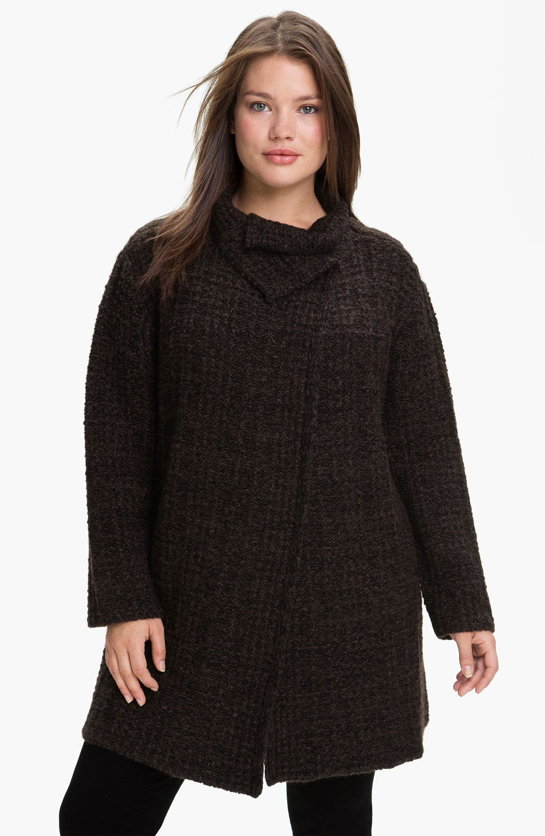 Alternate Image 1 Selected - Eileen Fisher 'Eco Pebble Plaid' Jacket (Plus)
