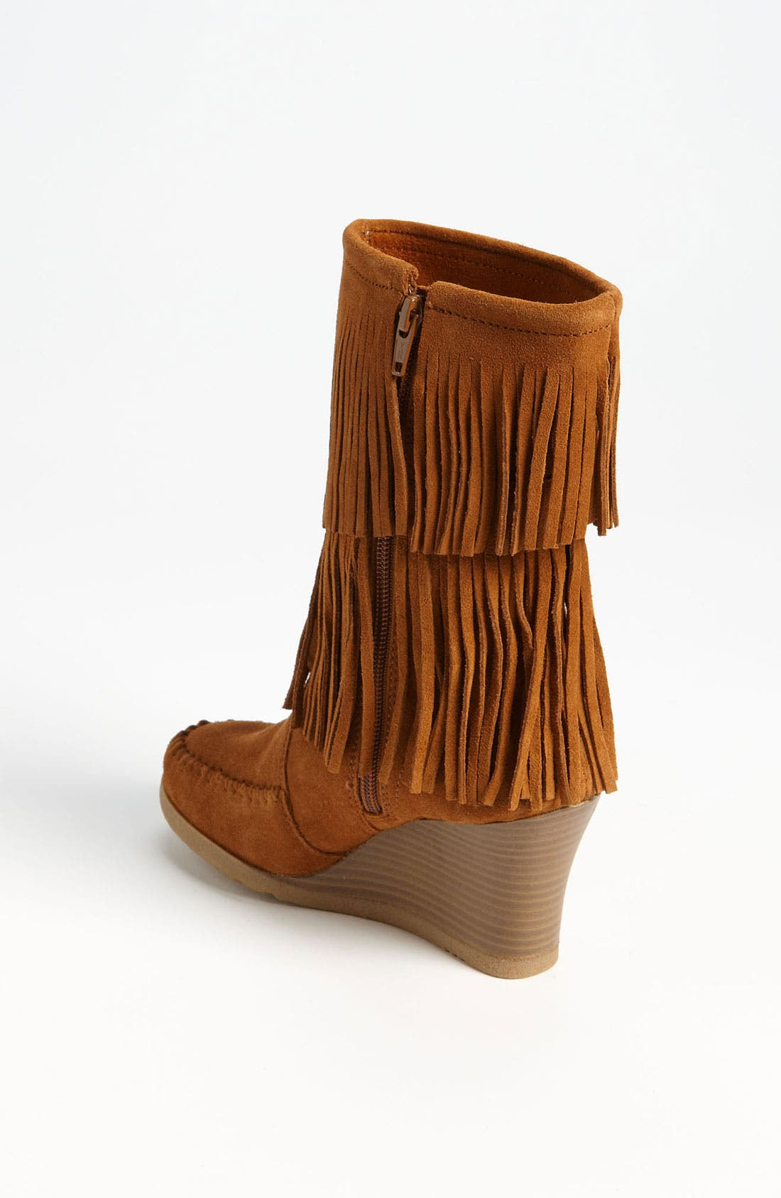 Double Fringe Boot,                             Alternate thumbnail 2, color,                             Brown Suede