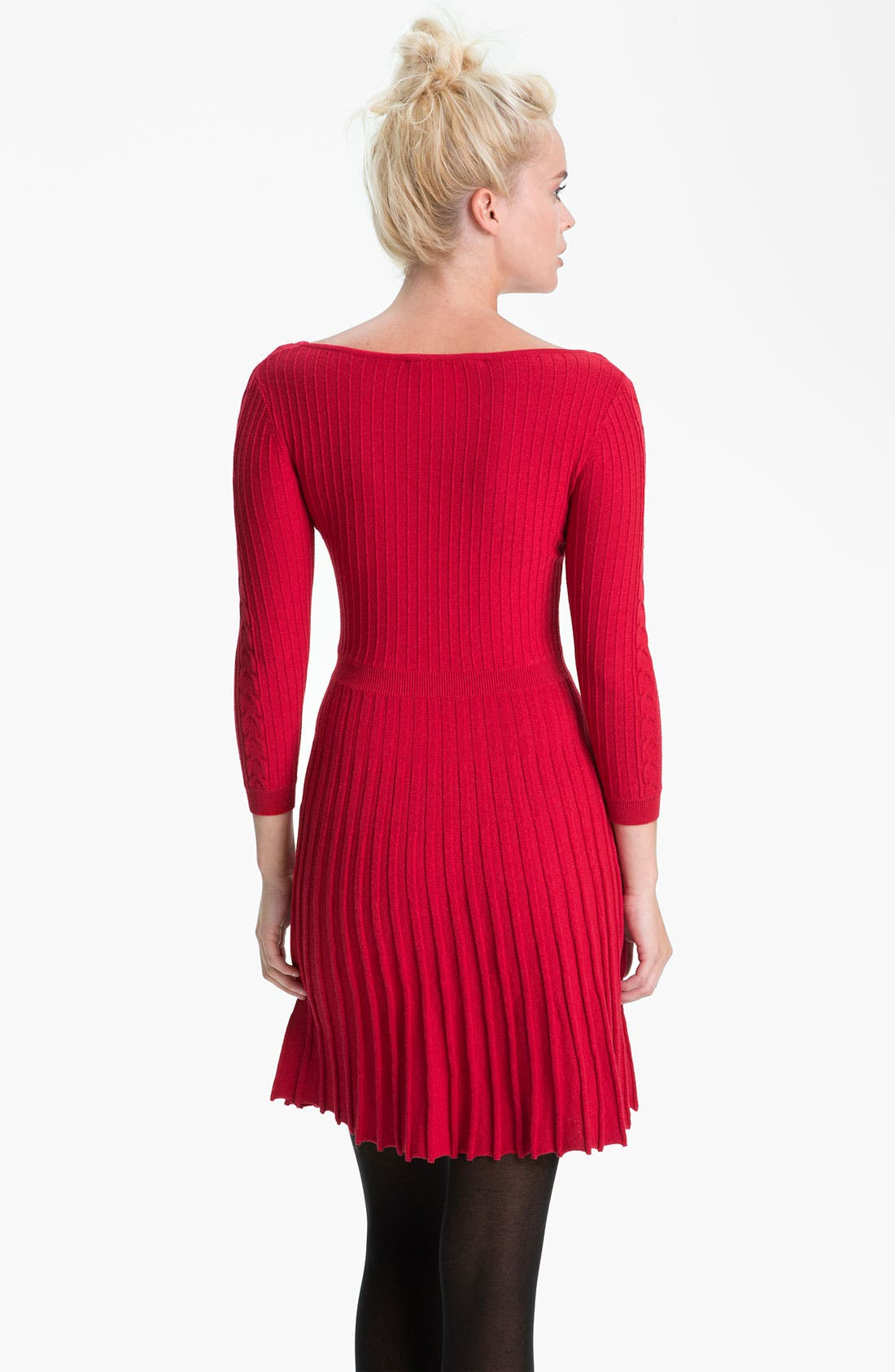 Alternate Image 2  - BCBGMAXAZRIA Boat Neck Cable Knit Sweater Dress