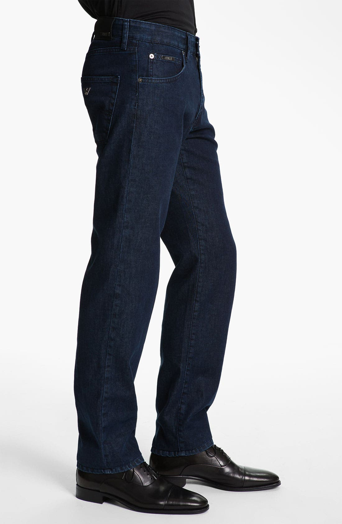 Alternate Image 3  - Armani Collezioni Straight Leg Jeans (Navy Wash)
