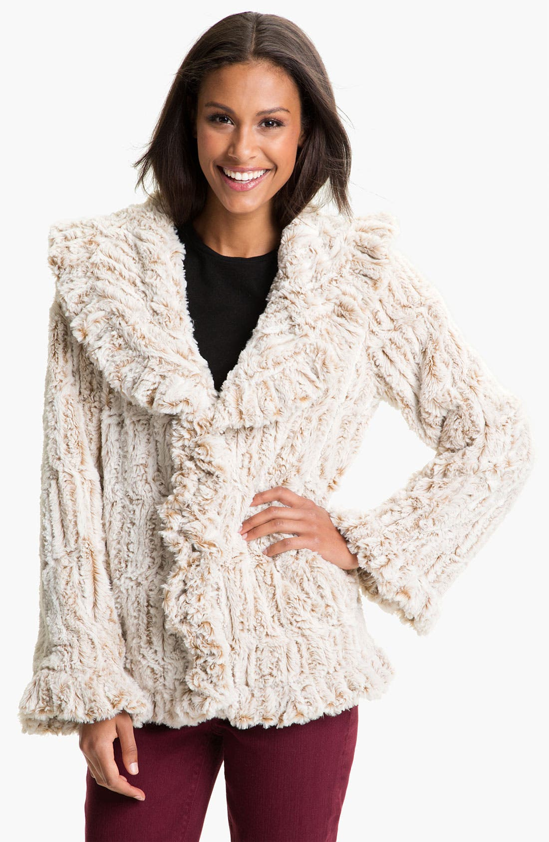 Main Image - Damselle Faux Fur Ruffle Coat