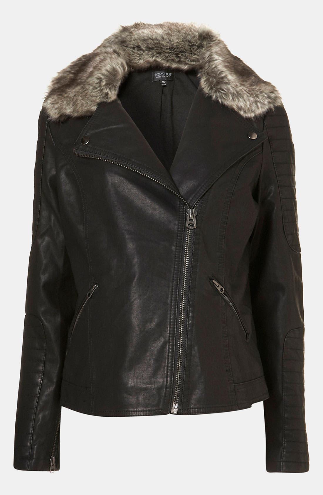 Main Image - Topshop 'Maddox' Faux Leather Maternity Jacket