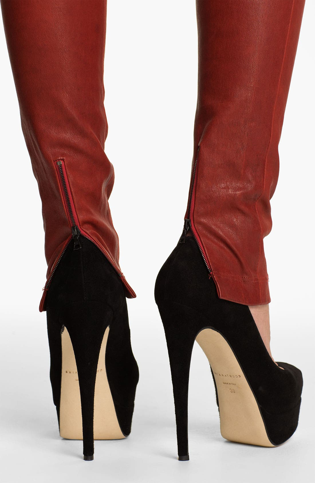 Alternate Image 4  - Alice + Olivia Skinny Lambskin Leather Leggings