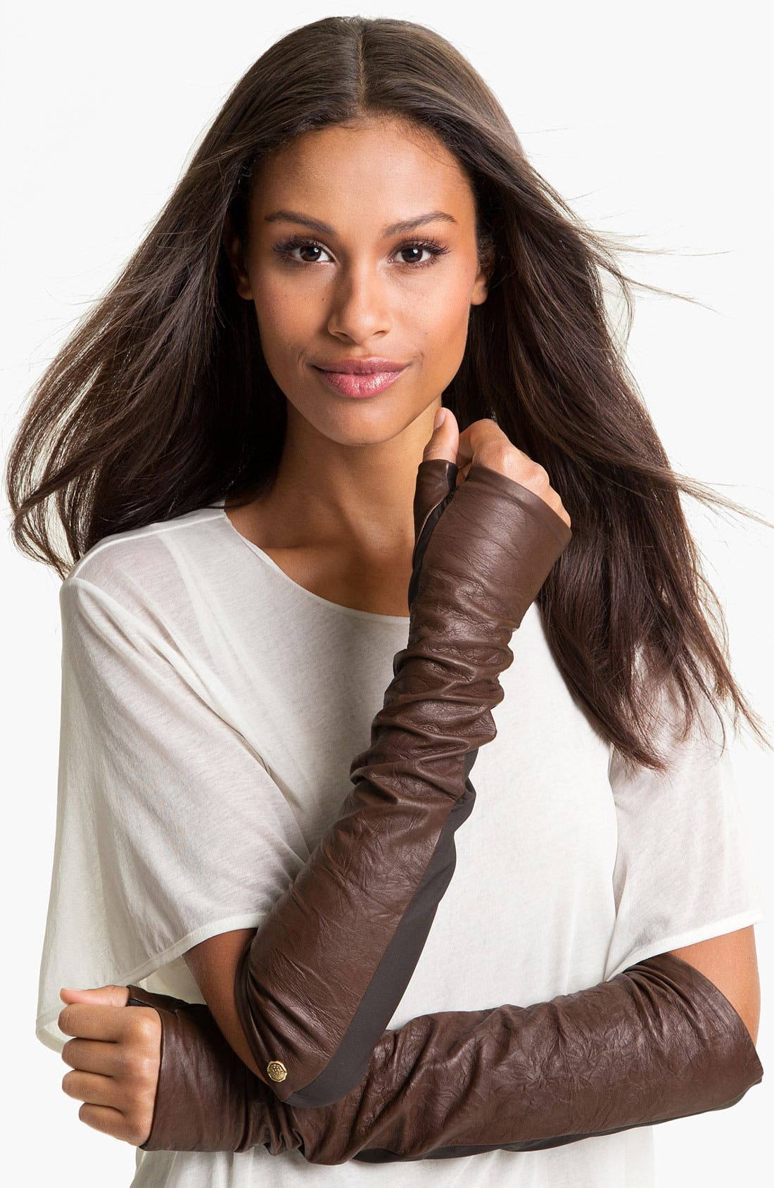 Alternate Image 1 Selected - Vince Camuto Washed Leather Fingerless Gloves