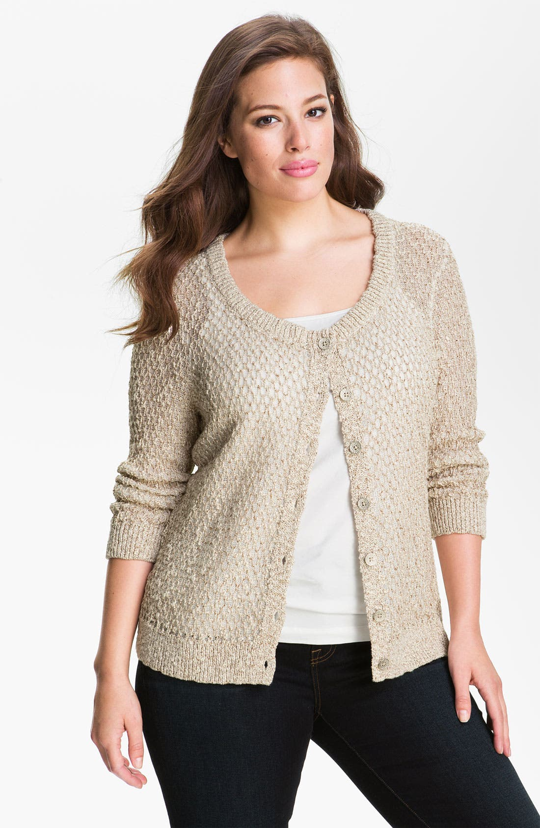 Nic + Zoe 'Shimmer' Cardigan,                         Main,                         color, Champagne