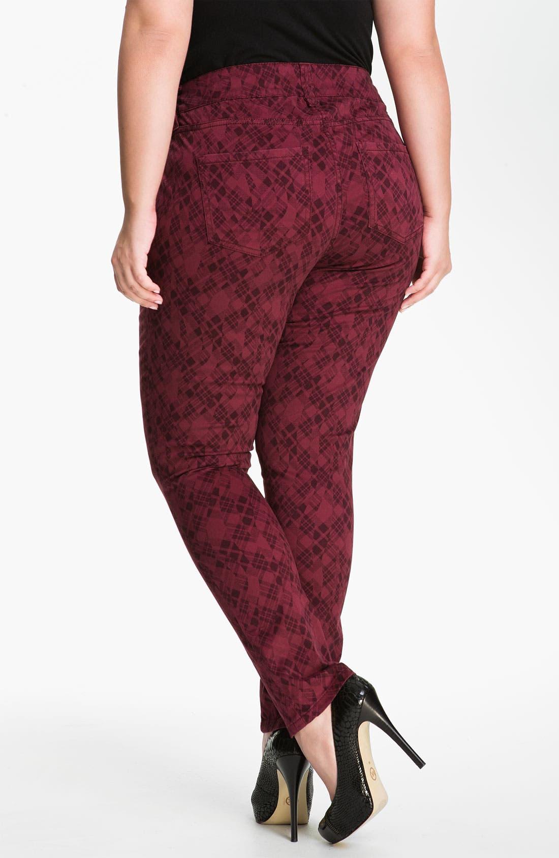 Alternate Image 2  - Jag Jeans Plaid Skinny Jeans (Plus)