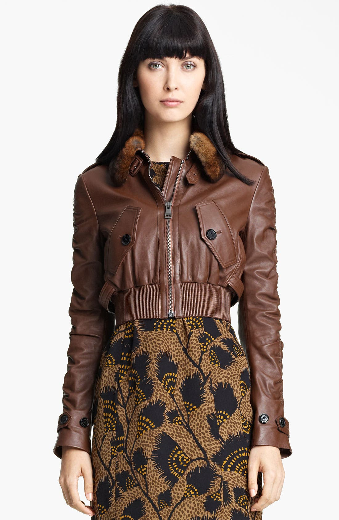 Main Image - Burberry London Leather Bomber Jacket with Genuine Rabbit Fur Collar