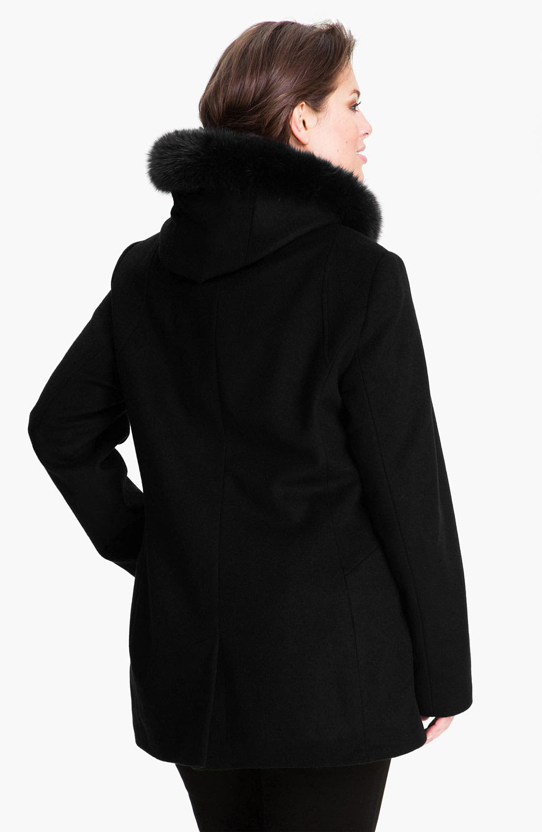 Alternate Image 2  - Sachi Genuine Fox Fur Trim Hooded Coat (Plus)